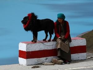 32 Vrouw met hond Tibet