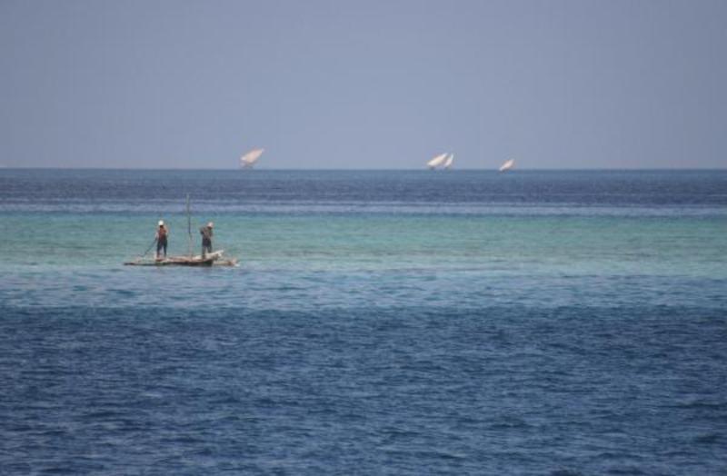 Uitzicht vanaf de veerboot naar Zanzibar
