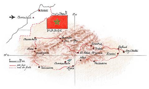 Routekaart Fietsvakantie Marokko, 10 dagen