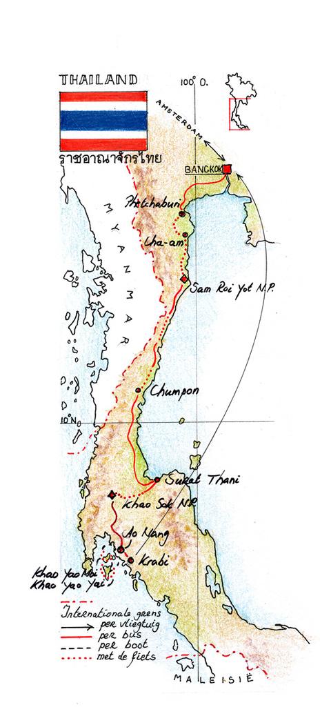 Routekaart Fietsvakantie Thailand-Zuid, 15 dagen