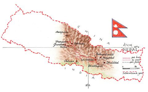 Routekaart Wandel- en fietsvakantie Nepal, 17 dagen