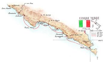 Routekaart Wandelvakantie Cinque Terre, 8 dagen