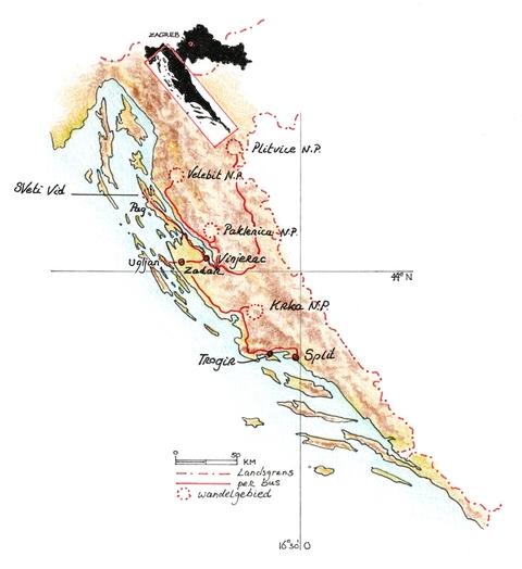 Routekaart Wandelvakantie Kroatië, 8 dagen