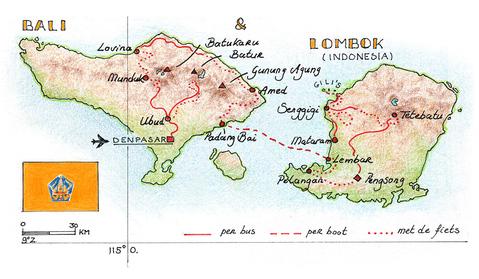 Routekaart Fietsvakantie Bali & Lombok, 18 dagen