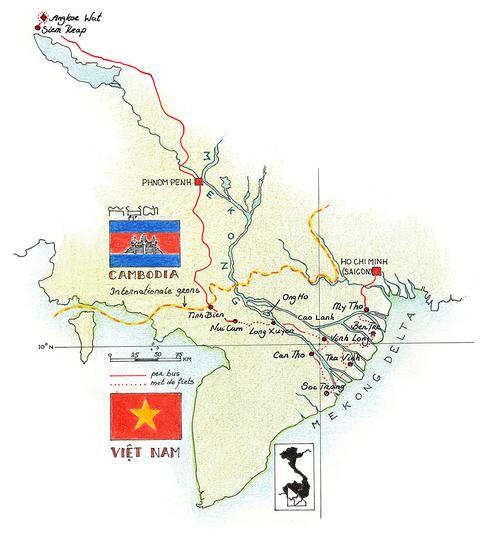 Routekaart Fietsvakantie Vietnam & Cambodja, 18 dagen