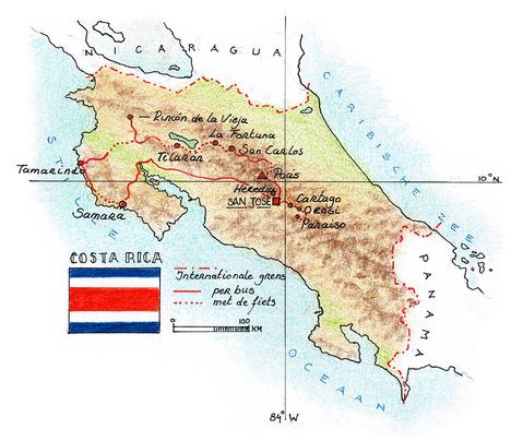 Routekaart Fietsvakantie Costa Rica, 14 dagen