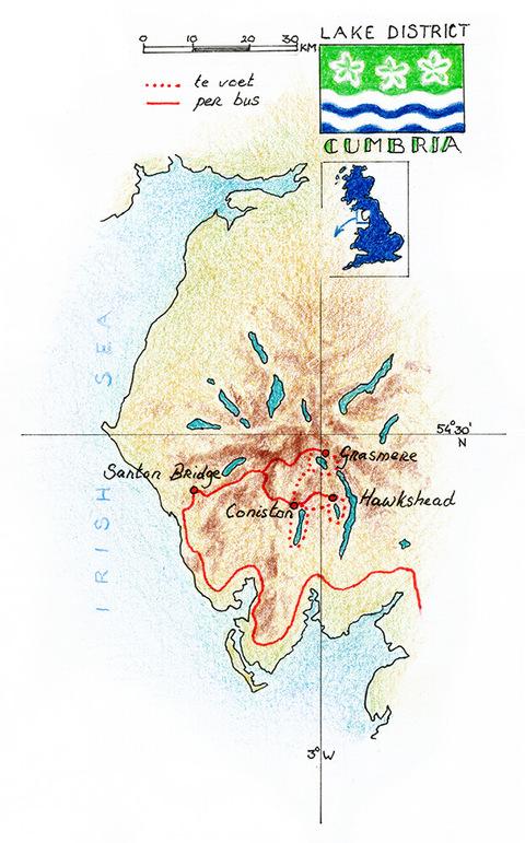 Routekaart Wandelreis Lake District - Engeland 8 dagen
