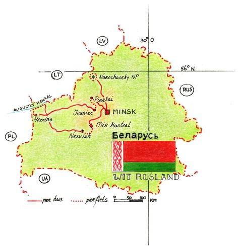 Routekaart Fietsreis Wit-Rusland, 8 dagen