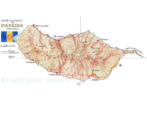 Routekaart Wandelreis Madeira, 8 dagen