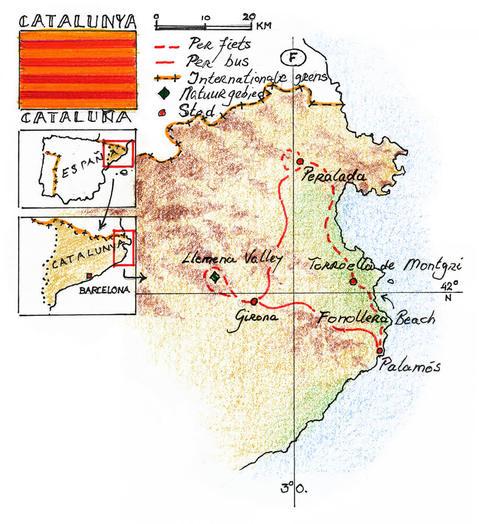 Routekaart Fietsreis Catalonië - Spanje 8 dagen
