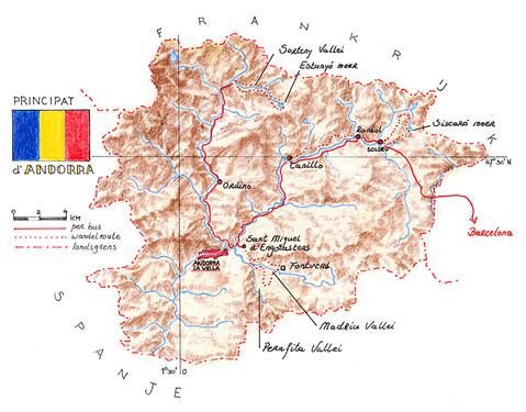 Routekaart Wandelreis Andorra, 8 dgn