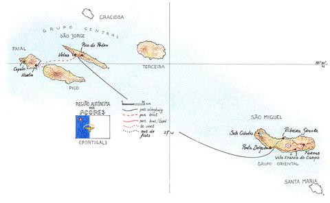 Routekaart Wandel- & Fietsvakantie Azoren, 14 dagen