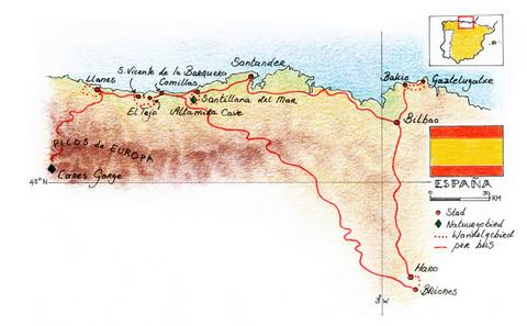 Routekaart Wandelreis Noord Spanje, 8 dagen