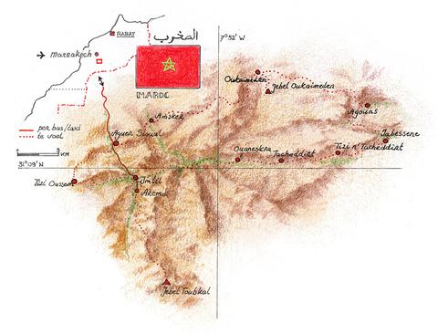 Routekaart Wandelvakantie Marokko, 14 dagen