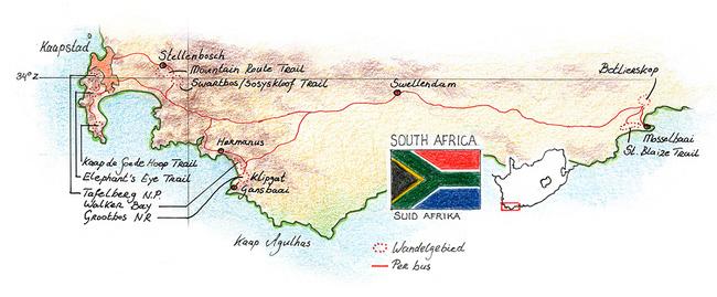 Routekaart Wandelvakantie Zuid-Afrika, 13 dagen