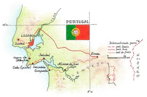 Routekaart Fietsvakantie Portugal, 8 dagen