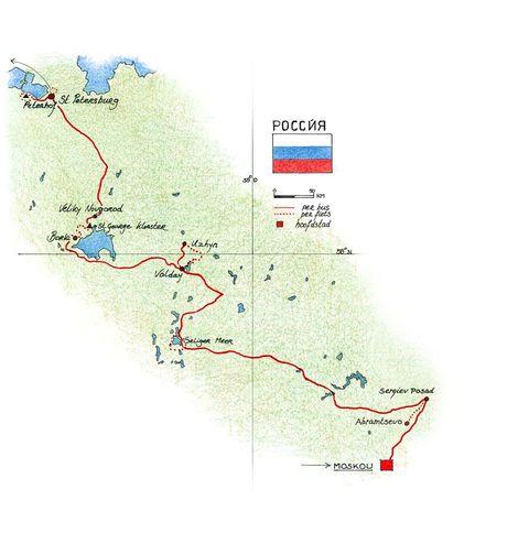 Routekaart Fietsvakantie Rusland, 10 dagen
