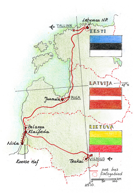 Routekaart Fietsvakantie Baltische Staten, 9 dagen