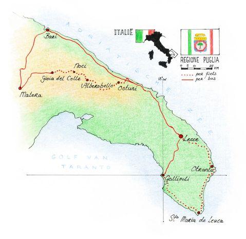 Routekaart Fietsreis Puglia - Italië, 8 dagen