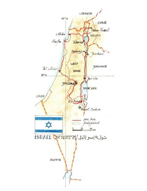 Routekaart Fietsreis Israël, 11 dagen
