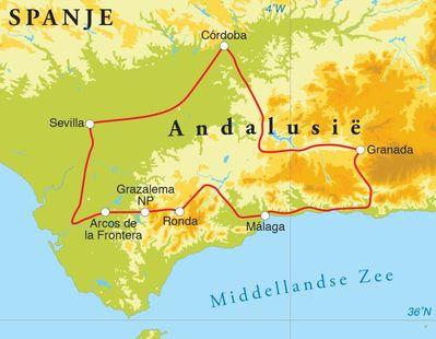 Routekaart Rondreis Spanje (Andalusië), 12 dagen