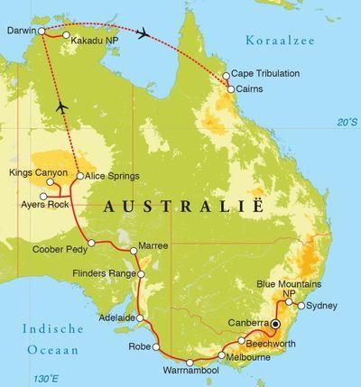 Routekaart Rondreis Australië, 30 dagen
