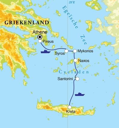 Routekaart Rondreis Griekse eilanden: Cycladen & Kreta, 14 dagen