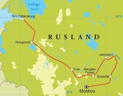 Routekaart Rondreis Rusland, 14 dagen
