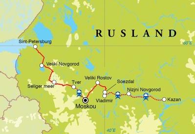 Routekaart Rondreis Rusland, 18 dagen