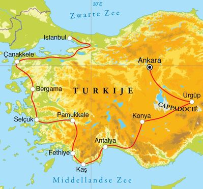 Routekaart Rondreis Turkije, 16 dagen