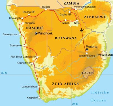 Routekaart Rondreis Zuid-Afrika, Botswana, Namibië & Victoriawatervallen, 24 dagen hotel/lodgereis