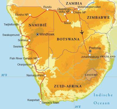 Routekaart Rondreis Zuid-Afrika, Botswana, Namibië & Victoria watervallen, 24 dagen kampeerreis
