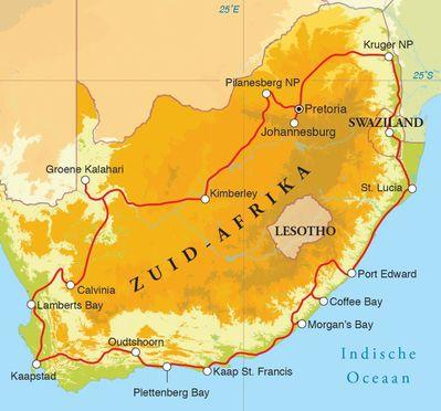 Routekaart Rondreis Zuid-Afrika & Swaziland, 29 dagen