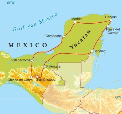 Routekaart Rondreis Mexico, 16 dagen