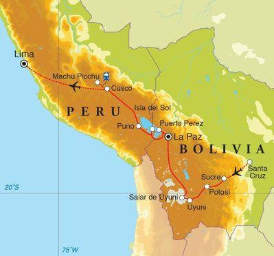 Routekaart Rondreis Bolivia & Peru, 23 dagen