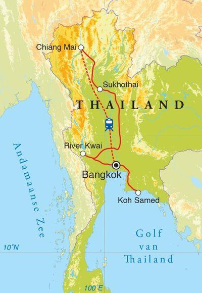 Routekaart Rondreis Thailand, 15 dagen