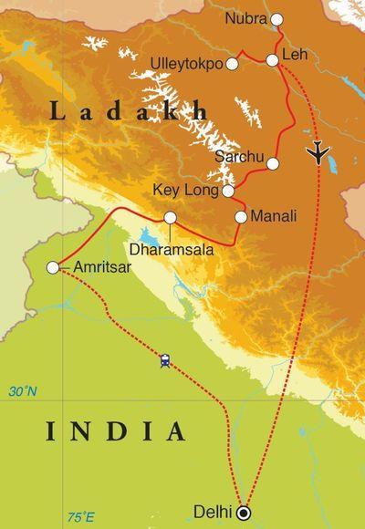 Routekaart Rondreis Ladakh, 22 dagen