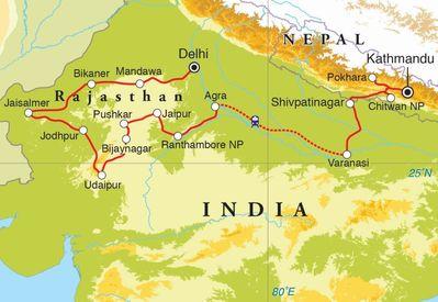 Routekaart Rondreis India, Rajasthan & Nepal, 30 dagen