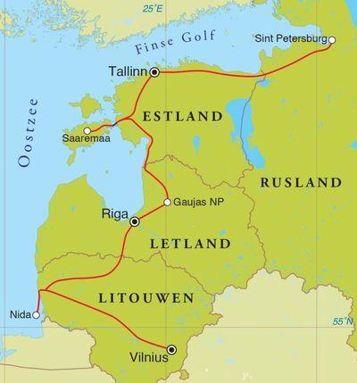 Routekaart Rondreis Litouwen, Letland, Estland & St. Petersburg, 14 dagen