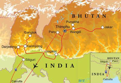 Routekaart Rondreis Bhutan, Sikkim & Darjeeling, 20 dagen