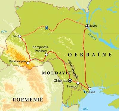 Routekaart Rondreis Oekraïne, Moldavië & Transnistrië, 15 dagen
