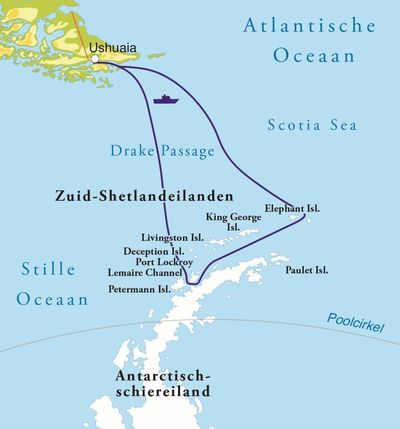 Routekaart Rondreis Antarctica en de Zuid-Shetland eilanden, 18 dagen