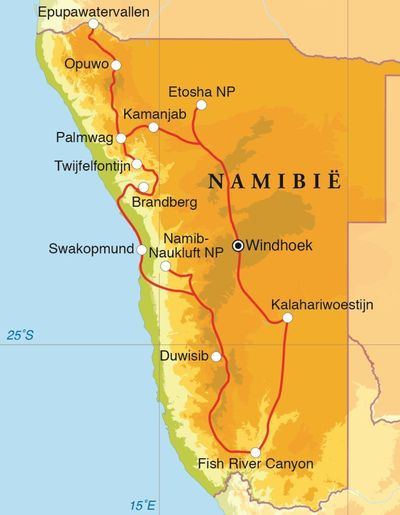 Routekaart Rondreis Namibië, 22 dagen kampeerreis