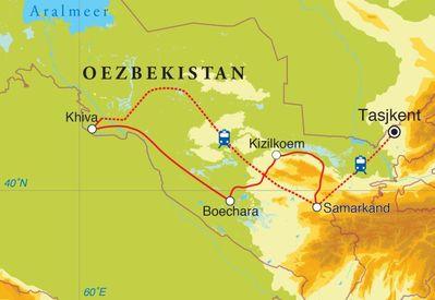 Routekaart Rondreis Oezbekistan, 15 dagen