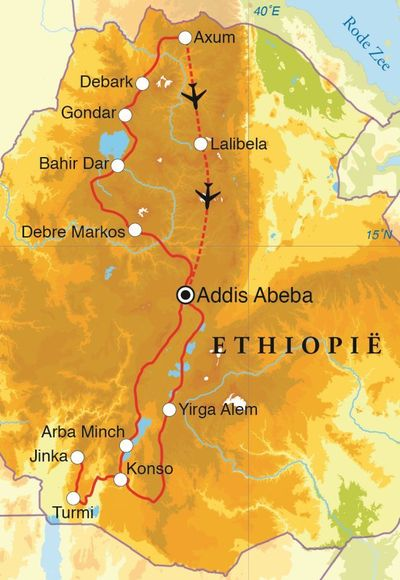 Routekaart Rondreis Ethiopië, 23 dagen