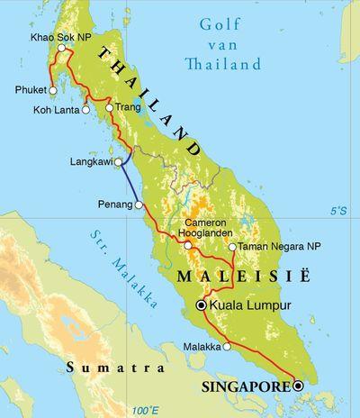 Routekaart Rondreis Thailand, Maleisië & Singapore, 21 dagen