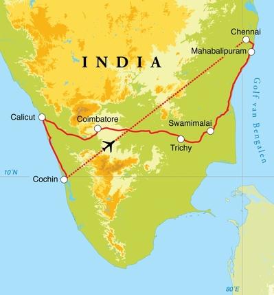 Routekaart Cultuurreis Zuid-India, 15 dagen