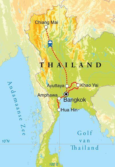 Routekaart Kookreis Thailand, 15 dagen