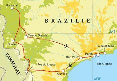 Routekaart Rondreis Brazilië, 21 dagen