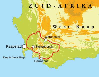 Routekaart Wijnreis Zuid-Afrika, 8 dagen